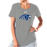 Ladies Under Armour Grey Charged Cotton Tee-Hawk Head