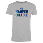 Ladies Grey T Shirt-Harper College Stacked