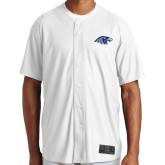 New Era White Diamond Era Jersey-Hawk Head, Personalized name on back in 61197 Dk blue, numbers on back in 61197 Dk blue