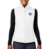 Columbia Lake 22 Ladies White Vest-Arched Harper Hawk Head