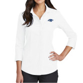 Ladies Red House White 3/4 Sleeve Shirt-Hawk Head
