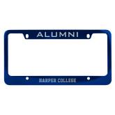 Alumni Metal Blue License Plate Frame-Hawk Head Engraved