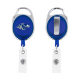 Blue Oval Retractable Badge Holder w/Clip-Hawk Head