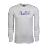 White Long Sleeve T Shirt-Stacked High Point University