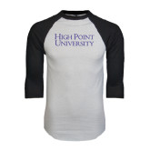 White/Black Raglan Baseball T-Shirt-Stacked High Point University