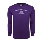 Purple Long Sleeve T Shirt-Soccer