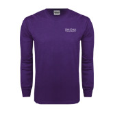 Purple Long Sleeve T Shirt-Stacked High Point University