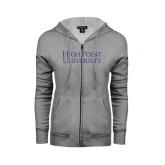 ENZA Ladies Grey Fleece Full Zip Hoodie-Stacked High Point University