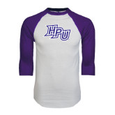 White/Purple Raglan Baseball T Shirt-HPU