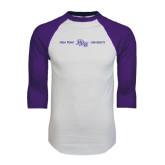 White/Purple Raglan Baseball T Shirt-High Point HPU University