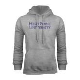 Grey Fleece Hoodie-Stacked High Point University