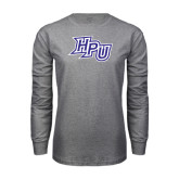 Grey Long Sleeve T Shirt-HPU Distressed