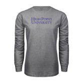 Grey Long Sleeve T Shirt-Stacked High Point University