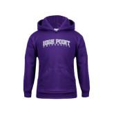 Youth Purple Fleece Hoodie-Arched High Point University