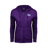 ENZA Ladies Purple Fleece Full Zip Hoodie-HPU