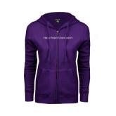 ENZA Ladies Purple Fleece Full Zip Hoodie-High Point University