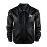 Black Leather Bomber Jacket-HPU