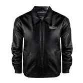 Black Leather Bomber Jacket-Stacked High Point University