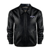 Black Leather Bomber Jacket-Arched High Point University