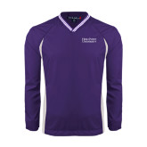Colorblock V Neck Purple/White Raglan Windshirt-Stacked High Point University