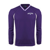 Colorblock V Neck Purple/White Raglan Windshirt-Arched High Point University