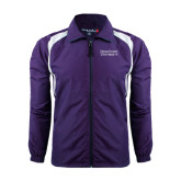 Colorblock Purple/White Wind Jacket-Stacked High Point University