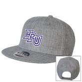 Heather Grey Wool Blend Flat Bill Snapback Hat-HPU