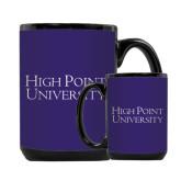 Full Color Black Mug 15oz-Stacked High Point University