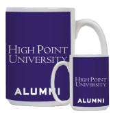 Alumni Full Color White Mug 15oz-Stacked High Point University