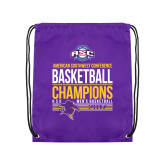 Purple Drawstring Backpack-2017 ASC Champions - Mens Basketball Stacked