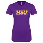 Next Level Ladies SoftStyle Junior Fitted Purple Tee-HSU