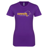 Next Level Ladies SoftStyle Junior Fitted Purple Tee-Cowgirls Soccer