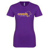 Next Level Ladies SoftStyle Junior Fitted Purple Tee-Cowgirls Softball