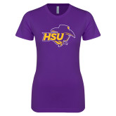 Next Level Ladies SoftStyle Junior Fitted Purple Tee-HSU Cowgirl