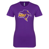Next Level Ladies SoftStyle Junior Fitted Purple Tee-Mens Basketball