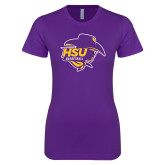 Next Level Ladies SoftStyle Junior Fitted Purple Tee-Womens Basketball