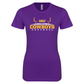 Next Level Ladies SoftStyle Junior Fitted Purple Tee-Cowboys Football w/ Field