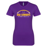 Next Level Ladies SoftStyle Junior Fitted Purple Tee-HSU Cowboys Football w/ Ball