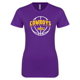 Next Level Ladies SoftStyle Junior Fitted Purple Tee-HSU Cowboys Basketball w/ Ball