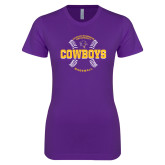 Next Level Ladies SoftStyle Junior Fitted Purple Tee-HSU Cowboys Baseball w/ Seams