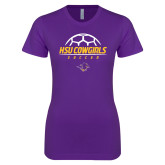 Next Level Ladies SoftStyle Junior Fitted Purple Tee-HSU Cowgirls Soccer Stacked