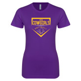 Next Level Ladies SoftStyle Junior Fitted Purple Tee-HSU Cowgirls Softball Plate