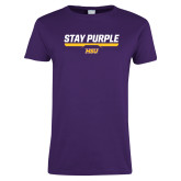 Ladies Purple T Shirt-Stay Purple
