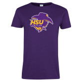 Ladies Purple T Shirt-Womens Soccer