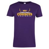 Ladies Purple T Shirt-Cowboys Football w/ Field