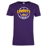 Ladies Purple T Shirt-HSU Cowboys Basketball w/ Ball
