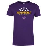 Ladies Purple T Shirt-HSU Cowgirls Soccer Stacked