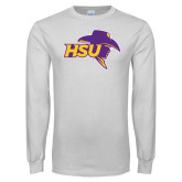White Long Sleeve T Shirt-HSU Cowboy