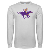 White Long Sleeve T Shirt-Cowgirl Riding