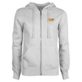 ENZA Ladies White Fleece Full Zip Hoodie-HSU